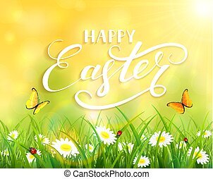 Yellow Easter background with grass and flowers