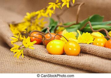 Yellow Easter eggs