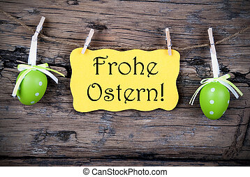 Yellow Easter Label With Frohe Ostern