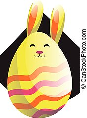 Yellow Easter rabbit in form of an egg illustration web vector on a white background