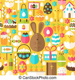 Yellow Easter Seamless Pattern