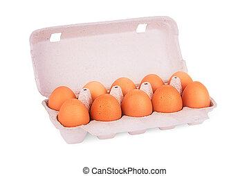 yellow eggs in box