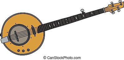 Yellow electric banjo