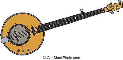 Yellow electric banjo - Hand drawing of a yellow electric...