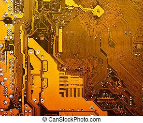 yellow electronic circuit board