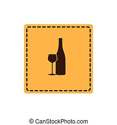yellow emblem wine bottle with glass icon