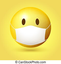 Yellow emoji emoticon with medical mask on face. Vector 3d illustration isolated on yellow background