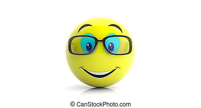 Yellow emoji with big smile and glasses on white background. 3d illustration