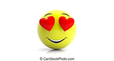 Yellow emoji with big smile and hearts on white background. 3d illustration