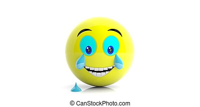 Yellow emoji with big smile and tears on white background. 3d illustration