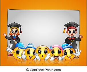 Yellow emoticon template background with happy graduation kids