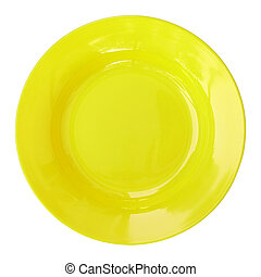 yellow empty plate isolated on white background with clipping path