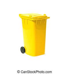 yellow empty recycling bin - empty recycling bin