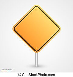 Yellow empty road sign
