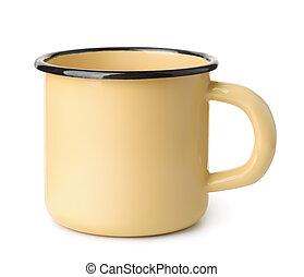 Yellow enamel coffee mug - Side view of blank yellow enamel ...
