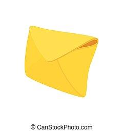 Yellow envelope icon, cartoon style