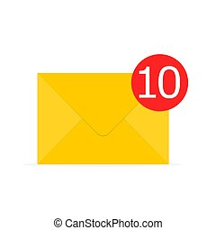 Yellow envelope icon. Vector illustration