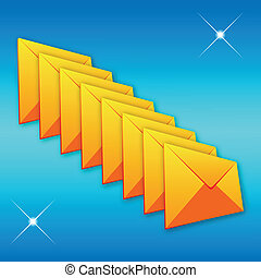 Yellow envelope on a blue background - A set of colored...