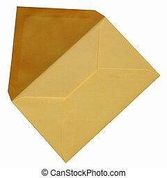 Yellow envelope isolated on white background