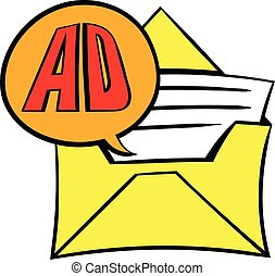 Yellow envelope with card for advertising icon