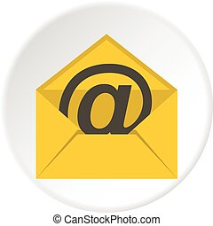 Yellow envelope with email sign icon circle