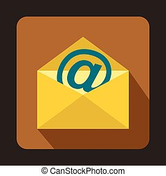 Yellow envelope with email sign icon, flat style