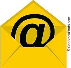 Yellow envelope with email sign icon isolated