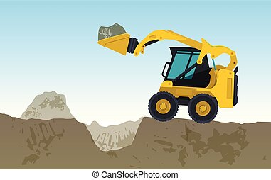Yellow excavator digs hole. Vector bagger is excavating,...