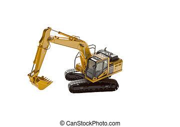 Yellow excavator heavy machinery