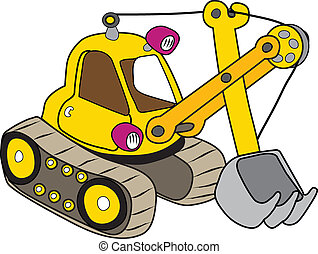 Yellow excavator illustration on white