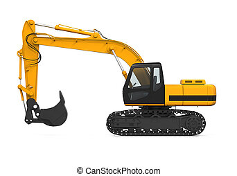 Yellow Excavator Isolated - Yellow Excavator isolated on...
