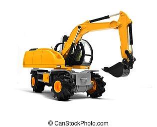 Yellow Excavator Toy Over White