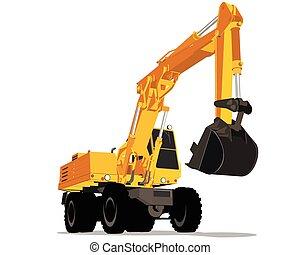 Yellow excavator with wheels