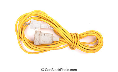 Yellow extension cord isolated on white
