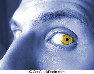 blue skin and yellow eyes
