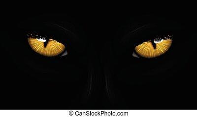 yellow eyes black Panther on dark background