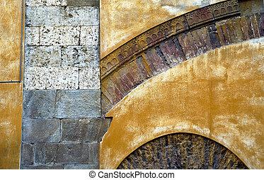 Yellow facade of a building in Italy