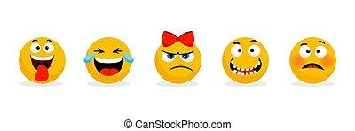 Yellow faces emoticons. Vector cartoon funny smileys faces, cartoon emojis