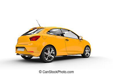 Yellow Family Car Rear View