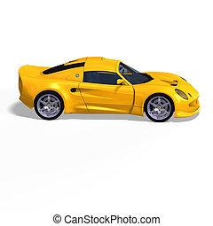 yellow fantasy racing car