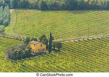 yellow farmhouse in Tuscany