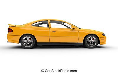 Yellow Fast Car Side View