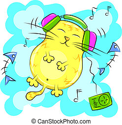 yellow fat cat listening to music on headphones. Vector...