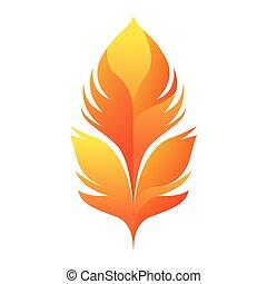 yellow feather icon, flat design