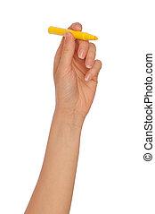 yellow felt-tip pen - businesswoman drawing scheme with...