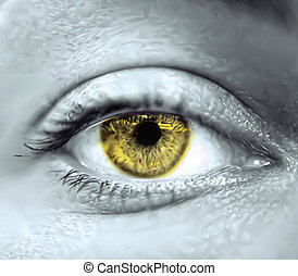Yellow female eye macro. Vector illustration