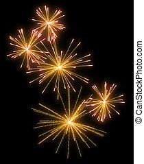 Yellow festive fireworks at night