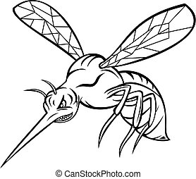 Mascot illustration of a yellow fever mosquito or Aedes aegypti, a mosquito that can spread dengue fever, chikungunya, Zika fever virus, flying on isolated background in retro black and white style.