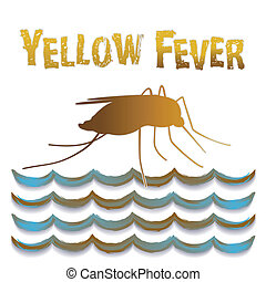 Yellow Fever mosquito, standing water, isolated on white. EPS8 compatible.