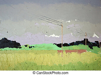 Yellow fields landscape - Plain air painting. Oil on canvas....